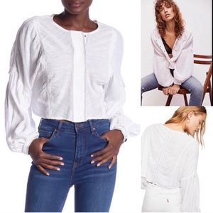 FREE PEOPLE DAY DREAMING BOHO WHITE PEASANT TOP M